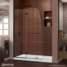 DreamLine Aqua Ultra 45 in. W x 72 in. H Frameless Hinged Shower Door in Satin Black