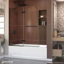 DreamLine Aqua Ultra 48 in. W x 58 in. H Frameless Hinged Tub Door in Satin Black