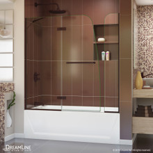 DreamLine Aqua Ultra 48 in. W x 58 in. H Frameless Hinged Tub Door with 9 in. Extender Panel in Oil Rubbed Bronze