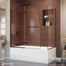 DreamLine Aqua Ultra 48 in. W x 30 in. D x 58 in. H Frameless Hinged Tub Door with Return Panel in Oil Rubbed Bronze