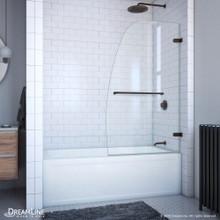 DreamLine Aqua Uno 34 in. W x 58 in. H Frameless Hinged Tub Door in Oil Rubbed Bronze