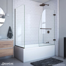 DreamLine Aqua Uno 56-60 in. W x 30 in. D x 58 in. H Frameless Hinged Tub Door with Return Panel in Oil Rubbed Bronze