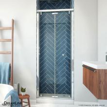DreamLine Butterfly-S 30-31 1/2 in. W x 74 in. H Semi-Frameless Sliding Bi-Fold Shower Door in Chrome