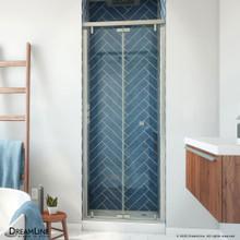 DreamLine Butterfly-S 30-31 1/2 in. W x 74 in. H Semi-Frameless Sliding Bi-Fold Shower Door in Brushed Nickel