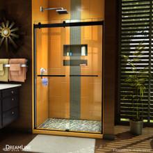 DreamLine Sapphire 44-48 in. W x 76 in. H Semi-Frameless Bypass Shower Door in Satin Black