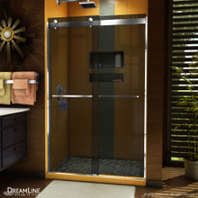 DreamLine Sapphire 44-48 in. W x 76 in. H Semi-Frameless Bypass Shower Door in Chrome and Gray Glass