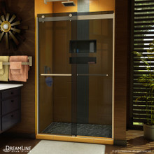 DreamLine Sapphire 44-48 in. W x 76 in. H Semi-Frameless Bypass Shower Door in Brushed Nickel and Gray Glass