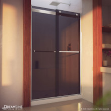 DreamLine Essence-H 44-48 in. W x 76 in. H Semi-Frameless Bypass Shower Door in Brushed Nickel and Gray Glass