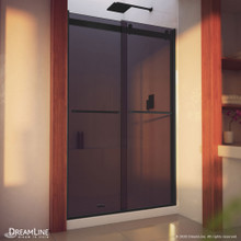DreamLine Essence-H 44-48 in. W x 76 in. H Semi-Frameless Bypass Shower Door in Satin Black and Gray Glass
