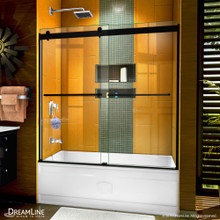 DreamLine Sapphire 56-60 in. W x 60 in. H Semi-Frameless Bypass Tub Door in Satin Black