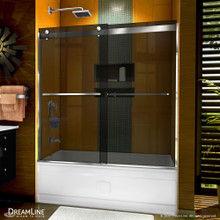 DreamLine Sapphire 56-60 in. W x 60 in. H Semi-Frameless Bypass Tub Door in Chrome and Gray Glass
