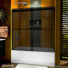 DreamLine Sapphire 56-60 in. W x 60 in. H Semi-Frameless Bypass Tub Door in Satin Black and Gray Glass