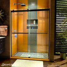 DreamLine Sapphire 56-60 in. W x 76 in. H Semi-Frameless Bypass Shower Door in Satin Black