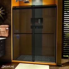 DreamLine Sapphire 56-60 in. W x 76 in. H Semi-Frameless Bypass Shower Door in Satin Black and Gray Glass