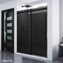 DreamLine Essence 56-60 in. W x 76 in. H Frameless Smoke Gray Glass Bypass Shower Door in Satin Black