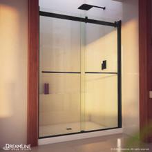 DreamLine Essence-H 56-60 in. W x 76 in. H Semi-Frameless Bypass Shower Door in Satin Black