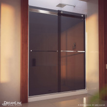 DreamLine Essence-H 56-60 in. W x 76 in. H Semi-Frameless Bypass Shower Door in Chrome and Gray Glass