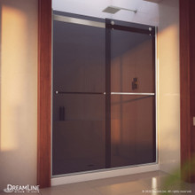 DreamLine Essence-H 56-60 in. W x 76 in. H Semi-Frameless Bypass Shower Door in Brushed Nickel and Gray Glass