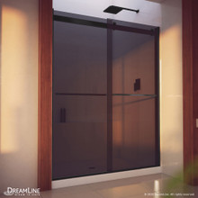 DreamLine Essence-H 56-60 in. W x 76 in. H Semi-Frameless Bypass Shower Door in Satin Black and Gray Glass