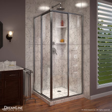 DreamLine Cornerview 40 1/2 in. D x 40 1/2 in. W x 72 in. H Framed Sliding Shower Enclosure in Brushed Nickel