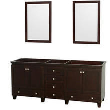 "Wyndham 80"" Double Bathroom Vanity in Espresso, No Countertop, No Sinks & 24"" Mirror"