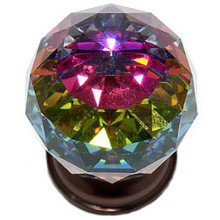 """JVJ 36412 Old World Bronze 40 mm (1 9/16"""") Round Faceted 31% Leaded Crystal Door Knob With Prism"""