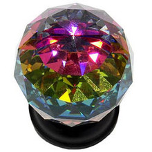 """JVJ 36420 Oil Rubbed Bronze 40 mm (1 9/16"""") Round Faceted 31% Leaded Crystal Door Knob With Prism"""