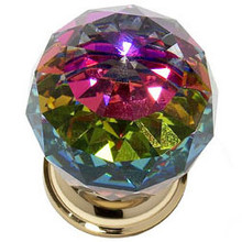 """JVJ 36424 24 K Gold Plated 40 mm (1 9/16"""") Round Faceted 31% Leaded Crystal Door Knob With Prism"""