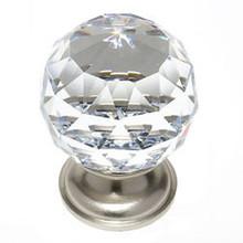 "JVJ 36246 Satin Nickel 40 mm (1 9/16"") Round Faceted 31% Leaded Crystal Door Knob"
