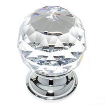 "JVJ 36226 Chrome 40 mm (1 9/16"") Round Faceted 31% Leaded Crystal Door Knob"