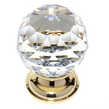 """JVJ 36224 24 K Gold Plated 40 mm (1 9/16"""") Round Faceted 31% Leaded Crystal Door Knob"""