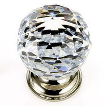 "JVJ 36214 Polished Nickel 40 mm (1 9/16"") Round Faceted 31% Leaded Crystal Door Knob"