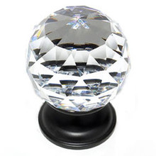 """JVJ 36220 Oil Rubbed Bronze 40 mm (1 9/16"""") Round Faceted 31% Leaded Crystal Door Knob"""
