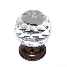 "JVJ 36212 Old World Bronze 40 mm (1 9/16"") Round Faceted 31% Leaded Crystal Door Knob"