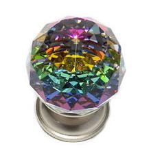 "JVJ 35646 Satin Nickel 30 mm (1 3/16"") Round Faceted 31% Leaded Crystal Door Knob With Prism"