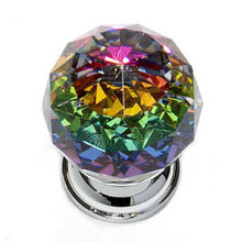 """JVJ 35626 Chrome 30 mm (1 3/16"""") Round Faceted 31% Leaded Crystal Door Knob With Prism"""