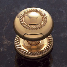 """JVJ 35501 Solid Brass 1 1/2"""" Rope Door Knob With Back Plate"""
