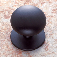 """JVJ 35414 Matte Black Finish 1 1/2"""" Plymouth Door Knob With Back Plate"""