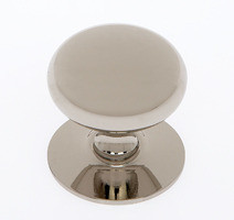 """JVJ 35416 Polished Nickel 1 1/2"""" Plymouth Door Knob With Back Plate"""