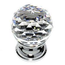 "JVJ 35226 Chrome 30 mm (1 3/16"") Round Faceted 31% Leaded Crystal Door Knob"