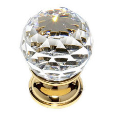 """JVJ 35224 24 K Gold Plated 30 mm (1 3/16"""") Round Faceted 31% Leaded Crystal Door Knob"""