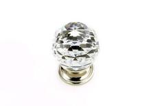 "JVJ 35214 Polished Nickel 30 mm (1 3/16"") Round Faceted 31% Leaded Crystal Door Knob"