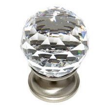 "JVJ 35246 Satin Nickel 30 mm (1 3/16"") Round Faceted 31% Leaded Crystal Door Knob"