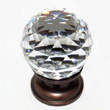 "JVJ 35212 Old World Bronze 30 mm (1 3/16"") Round Faceted 31% Leaded Crystal Door Knob"