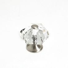 """JVJ 34246 Satin Nickel 30 mm (1 3/16"""") 6 Sided 31% Leaded Crystal Door Knob"""