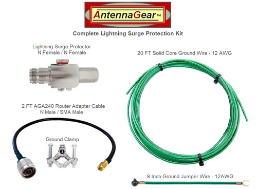Antenna System Lightning Surge Protector Arrester w/ Grounding Kit + AGA240 Router Adapter Cable