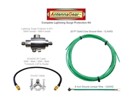 Antenna System Lightning Surge Protector Arrester - SMA-F w/ Grounding Kit + AGA240 Router Adapter Cable