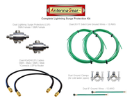 Dual Antenna System Lightning Surge Protector Arrester - SMA-F w/ Grounding Kit + AGA240 Router Adapter Cable