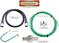 Antenna System Lightning Surge Protector Arrester w/Grounding Kit