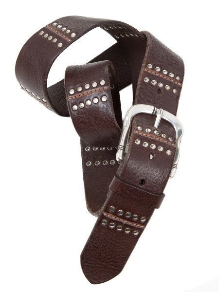 Metal Stud Brown Leather Belt